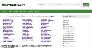 USAPromoted.com - National to local business related information listings.